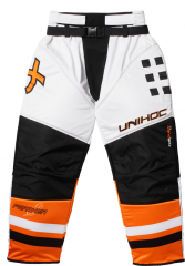 Unihoc Feather White/Neon Orange JR brankářske kalhoty