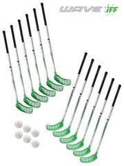 Eurostick Wave Green IFF Set (12 hokejek)
